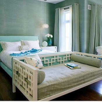 Natasha Baradaran - bedrooms - daybed, west elm daybed, white daybed, interlocking squares daybed, turquoise bed, turquoise blue bed, turquoise headboard, turquoise blue headboard, blue green grasscloth, blue green grasscloth wallpaper, grommet curtains, grommet drapes, green grommet curtains, green grommet drapes, turquoise throw, , West Elm Square Cutout 3-Drawer Dresser, West Elm Overlapping Squares Daybed,
