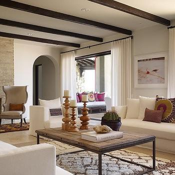 Kara Mann Design - living rooms - mediterranean design, modern mediterranean design, beni ourain rug, reclaimed wood coffee table, white sofas, suzani pillow, Donghia Suzani-Pink Passion,
