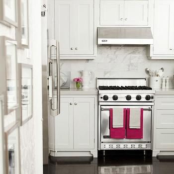 Caitlin Wilson Design - kitchens - wood floors, shaker cabinets, white shaker cabinets, white shaker kitchen cabinets, pink accents, hot pink accents, calcutta marble tiles, calcutta marble subway tiles,