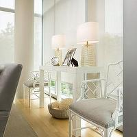 Sally Steponkus Interiors - living rooms - parsons console table, white parsons table, white parsons console table, white bamboo chair, West Elm Parsons Console Table, Crate & Barrel Venezia Lamp,