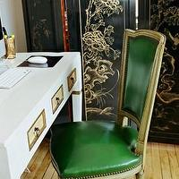 Scout Designs NYC - dens/libraries/offices - chinoiserie floor screen, chinoiserie folding screen, green chair, green leather chair,  Green &