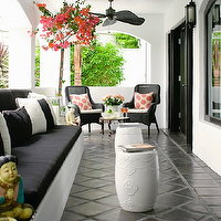 Kishani Perera - porches - white, garden stools, white, black, outdoor, cushions, black, wicker, chairs, glossy, black, doors,  Chic black &