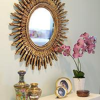 Caitlin Wilson Design - entrances/foyers - sunburst mirror, gold sunburst mirror,  Elegant foyer design with gold sunburst mirror, green gray