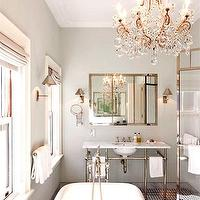 Nate Berkus Design - bathrooms - gray, walls, marble, washstand, silver, rectangular, mirror, claw foot tub, gray, silk, roman shades, glass shower, polished nickel, sconces, marble, basketweave, tiles, crystal, chandelier,