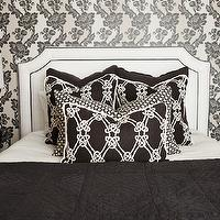 Caitlin Wilson Design - bedrooms - white, black, floral, wallpaper, white, headboard, black, piping, kelly wearstler fabric, kelly wearstler pillows, kelly wearstler fabric pillows, Kelly Wearstler Gordian Weave Fabric,
