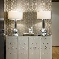 Sally Steponkus Interiors - entrances/foyers - white, studded, cabinet, silver, ribbed, lamps, gray, moorish tiles, printed, wallpaper, gray rooms, gray walls, trellis wallpaper, gray trellis wallpaper, moroccan wallpaper, gray moroccan wallpaper, quatrefoil wallpaper, gray quatrefoil wallpaper, moorish tiles wallpaper, gray moorish tiles wallpaper,