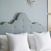 Lucas Allen Photography - bedrooms - blue, walls, blue, tufted, headboard, brass, crystal, chandelier, gold leaf, faux bamboo, frames, crisp, white, bedding, blue headboard, tufted headboard, blue tufted headboard, upholstered headboard, blue upholstered headboard,