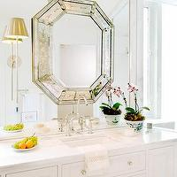Huntley & Company - bathrooms - octagon, mirror, white, bathroom, vanity, cabinet, calcutta, marble, countertops, sconces, orchid, octagon mirrors, octagon mirror, silver octagon mirror, silver octagonal mirror,