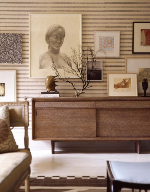 Thom Filicia - living rooms - walnut, mid-century modern, credenza, ivory, gray, blue, striped, walls, art gallery,  Mid-century modern living