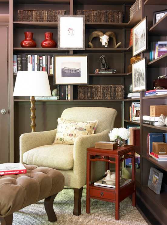 Built In Bookshelves Transitional Den Library Office Courtney Giles Interiors
