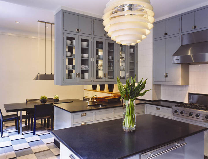 Gray Blue Kitchen Cabinets Contemporary Kitchen Thom Filicia