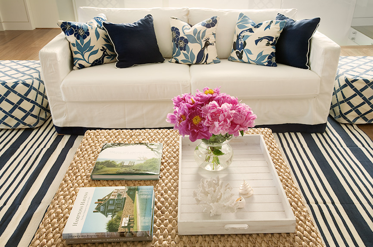 Suzie: Diane Bergeron  beachy cottage white & blue living room with white modern slipcovered ...