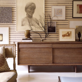 Thom Filicia - living rooms - mid century modern credenza, mid century modern cabinet,  Mid-century modern living room design with walnut credenza,
