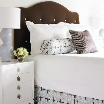 Courtney Giles Interiors - bedrooms - brown headboard, button tufted headboard, brown button tufted headboard, white nightstand, lilac lamp, lilac table lamp, lilac gourd lamp, lilac double gourd lamp, brown and blue bedskirt, camelback headboard, brown camelback headboard,