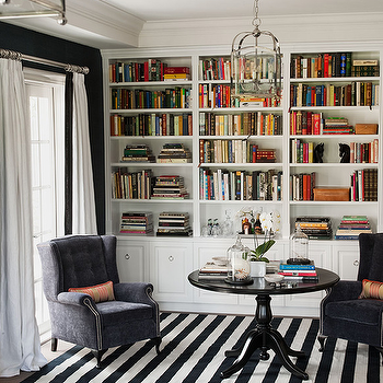 Diane Bergeron Interiors - dens/libraries/offices - built-in cabinets, built-ins, library built-ins, white built-ins, white built-in cabinets, built-in bookcase, library bookcase, floor to ceiling built-ins, floor to ceiling built-in cabinets, library built in bookshelves, built in bookshelves, bookshelves, , striped rug, black and white rug, black and white striped rug,