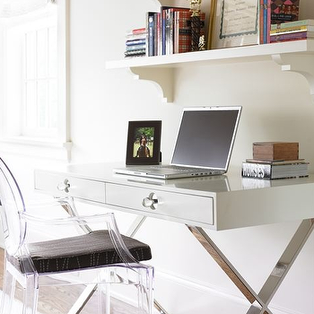 Courtney Giles Interiors - dens/libraries/offices - lacquer desk, white lacquer desk, white desk, x base desk, white lacquered desk, Jonathan Adler Channing Desk,