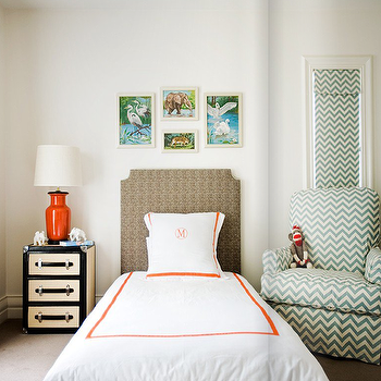 Diane Bergeron Interiors - boy's rooms - chevron curtains, chevron drapes, teal chevron curtains, chevron chair, teal chevon chair, orange lamp, white and orange bedding, monogrammed bedding, Premier Prints ZigZag Village Blue/Natural,