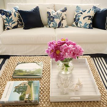Diane Bergeron Interiors - living rooms: seagrass ottoman, ottoman coffee table, slipcovered sofa, navy pillows, navy blue pillows,  Beachy cottage