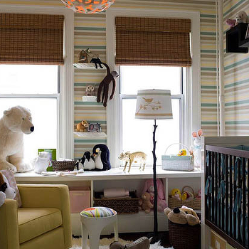 Thom Filicia - nurseries - striped nursery, striped nursery walls, yellow and blue striped walls, yellow and blue striped nursery, , Coral Pendant,