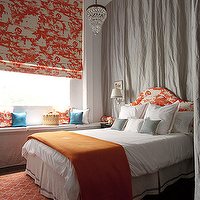 Diane Bergeron Interiors - bedrooms - orange rug, trellis rug, orange trellis rug, madeline weinrib rug, brooke rug, orange brooke rug, orange throw, orange throw blanket, orange headboard, toile headboard, orange toile headboard, orange roman shade, white and orange roman shade, toile roman shade, orange toile roman shade, curtains behind headboard, drapes behind headboard, gray curtains, gray drapes, Pottery Barn Clarissa Glas Drop Chandelier, Madeline Weinrib Brooke Rug - Orange,