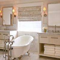 DeCesare Design Group - bathrooms - claw foot tub, ivory, washstands, white, carrara, marble, countertops, tiles, floor, backsplash, silver, beaded, mirror, sconces, gray, floral, roman shades,