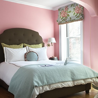 CWB Architects - girl&#039;s rooms - pink, walls, olive green, tufted, headboard, bed, green, shams, blue, throw, white, hotel bedding, black, stitching, zebra, rug, sconces, blue, pink, green, floral, roman shade,