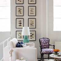 Diane Bergeron Interiors - living rooms - art gallery, ikat chair, purple ikat chair, white and purple ikat chair,  Chic city living room with
