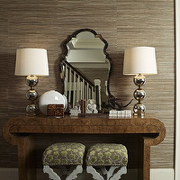 Doryn Wallach - entrances/foyers - taupe grasscloth, taupe grasscloth wallpaper, stacked balls lamp,  Taupe grasscloth wallpaper, faux tortoise