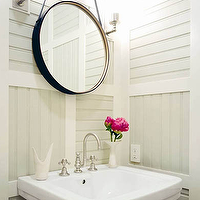 Thom Filicia - bathrooms - captains mirror, leather captains mirror, hanging leather mirror, pedestals ink, powder room, powder room mirror, Arteriors Expedition Mirror,