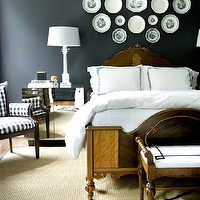 Courtney Giles Interiors - bedrooms - black, walls, antique, wood bed, white, hotel bedding, black, stitching, decorative wall plates, mirrored, nightstands, alabaster, lamps, white, black, Greek key, antique, bench, zebra, rug, sisal, rug white, black, plaid, chair, decorative plates, wall decorative plates, decorative plates for wall, antique decorative plates, antique decorative plates for bedroom wall, decorative plates for bedroom wall, antique decorative plates, decorative wall plates, antique decorative wall plates, numbered plates,