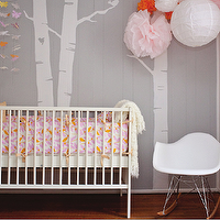 Adore Magazine - nurseries - gray, walls, tree mural, white, pink, orange, pom pom, white, Eames, rocker,  Jessica Bellemare - adorable &amp; chic