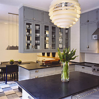 Thom Filicia - kitchens - gray blue cabinets, gray blue kitchen cabinets, black countertops, soapstone countertops,  Modern gray kitchen design