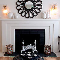 House of Honey - living rooms - mirror above fireplace, mirrors above fireplace, mirror over fireplace, mirrors over fireplace, fireplace mirror, fireplace mirrors, black fireplace mirror,
