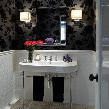 Black Floral Wallpaper, Contemporary, bathroom, Kishani Perera