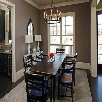 dining rooms - dining room, taupe walls, taupe paint colors, taupe dining room walls, dining table with cabriolet legs, french dining table,