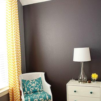 dens/libraries/offices - chevron drapes, yellow chevron drapes, yellow chevron curtains, yellow chevron window panels, black walls, black paint colors,