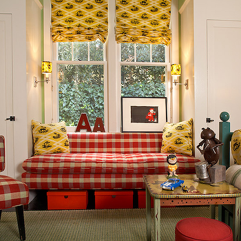Jean Randazzo - boy's rooms - kids window seat, gingham cushions, red gingham cushions, gingham chair, red gingham chair, plaid chair, red plaid chair, boys room, boys bedroom,