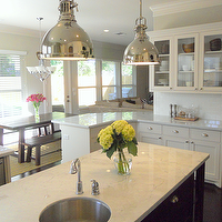 Honey We&#039;re Home - kitchens - carrara, marble, countertops, glass-front, white, kitchen, shaker, cabinets, subway tiles, backsplash, industrial yoke pendants, espresso, kitchen island, Sherwin Williams Divine White,