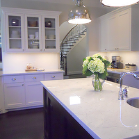 Honey We&#039;re Home - kitchens - white, subway tiles, backsplash, white, glass-front, shaker, kitchen island, industrial yoke pendants, espresso, kitchen island, white, carrara, marble, countertops, Sherwin Williams Divine White,