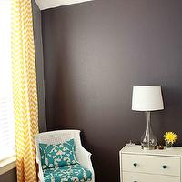 dens/libraries/offices - Behr - Anonymous & Benjamin Moore Almost Black - turquoise, cane chair, chevron curtains, rast nightstand, yellow, gray, chevron drapes, yellow chevron drapes, yellow chevron curtains, yellow chevron window panels,