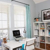 dens/libraries/offices - Waverly Ellis Turquoise, parsons desk, west elm, expedit, ikea expedit, expedit bookcase, ikea expedit bookcase, white ikea bookcase, white ikea expedit bookcase, turquoise curtains, Ikea Expedit,