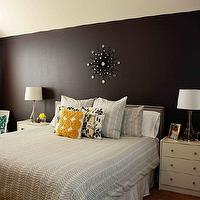 bedrooms - Behr - Anonymous and Benjamin Moore Almost Black mixerd in Behr - chevron, west elm, turquoise, gray, yellow,  Yellow and gray master