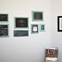 dens/libraries/offices - Martha Stewart Driftwood Gray mixed in Behr, chalkboards, teal, turquoise, gray,  Teal chalkboards on gray wall.
