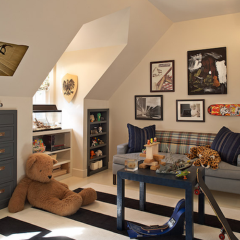 Jean Randazzo - boy's rooms - attic playroom, attic play room, attic playroom ideas, parsons table, navy parsons table, blue parsons table,