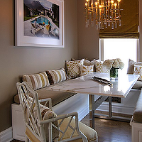 Jeneration Interiors - dining rooms - dining banquette, built in dining banquette, U shaped banquette, U shaped dining banquette, chrome dining table, taupe walls, marble dining table, white marble dining table, marble top dining table, white marble top dining table, chrome and marble dining table,