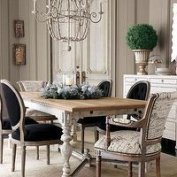 dining rooms: dining room, mix match chairs, french dining table, letter fabric,  Horchow  dining room that I love