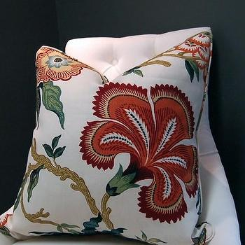 Pillows - Hot House Flowers linen pillow 22 sq Spark by woodyliana on Etsy - Hot House Flowers, linen, pillow