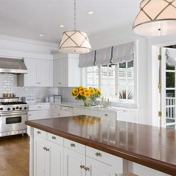 Tish Key Interior Design - kitchens - butcher block, butcher block countertops, butcher block kitchen island, butcher block island, white kitchen cabinets, two tone countertops,