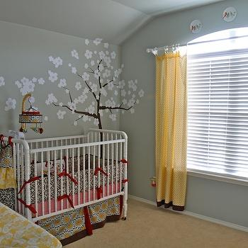 nurseries - tree decal, treel mural, tree wall mural, wall stencil, tree wall stencil, tree stencil for wall, jenny lind crib, white jenny lind crib, yellow curtains,