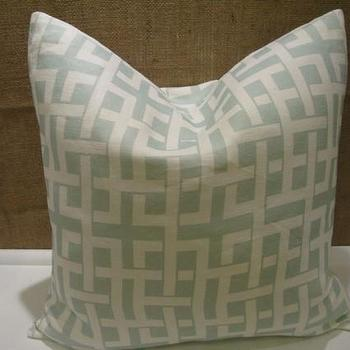 Seafoam Green Link Designer 18 Pillow/Cushion Cover by jvwhome